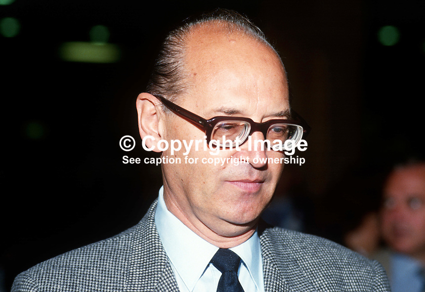 Oleg Bykov, aka Oleg Bikov, deputy director, Institute of the World Economy, Moscow, USSR, at UK Labour Party annual conference 1985. 19851109OB2..Copyright Image from Victor Patterson, 54 Dorchester Park, Belfast, UK, BT9 6RJ..Tel: +44 28 9066 1296.Mob: +44 7802 353836.Voicemail +44 20 8816 7153.Skype: victorpattersonbelfast.Email: victorpatterson@me.com.Email: victorpatterson@ireland.com (back-up)..IMPORTANT: If you wish to use this image or any other of my images please go to www.victorpatterson.com and click on the Terms & Conditions. Then contact me by email or phone with the reference number(s) of the image(s) concerned.