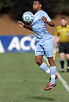 13 November 2011: North Carolina's Jordan McCrary. The University of North Carolina Tar Heels defeated the Boston College Eagles 3-1 at WakeMed Stadium in Cary, North Carolina in the Atlantic Coast Conference Men's Soccer Tournament championship game.