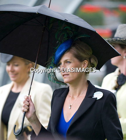 """SOPHIE,COUNTESS OF WESSEX.braves the rain on the second day of Royal Ascot, the premier race event of the calendar, Ascot_15/11/2011.Mandatory Credit Photo: ©DIAS-DIASIMAGES..**ALL FEES PAYABLE TO: """"NEWSPIX INTERNATIONAL""""**..IMMEDIATE CONFIRMATION OF USAGE REQUIRED:.DiasImages, 31a Chinnery Hill, Bishop's Stortford, ENGLAND CM23 3PS.Tel:+441279 324672  ; Fax: +441279656877.Mobile:  07775681153.e-mail: info@newspixinternational.co.uk"""