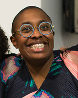 "NEW YORK, NY - MARCH 31: Jazz's singer Cécile McLorin Salvant during her expo ""The Adventures of the invisible Woman"" at RAW space on March 31, 2017 in Harlem, New York. Photo by VIEWpress/Eduardo MunozAlvarez"