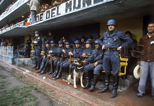 01.06.1978 Argentinian police with dogs on the pitch and guarding the president and dignitaries at the Estadio Antonio Liberti Monumental de River Plate during the 1978 world cup finals