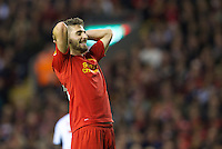 LIVERPOOL, ENGLAND - Thursday, October 4, 2012: Liverpool's Fabio Borini rues a missed chance against Udinese Calcio during the UEFA Europa League Group A match at Anfield. (Pic by David Rawcliffe/Propaganda)