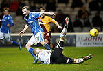 Motherwell v St Johnstone..30.12.15  SPFL  Fir Park, Motherwell<br /> Chris Kane is denied by keeper Connor Ripley<br /> Picture by Graeme Hart.<br /> Copyright Perthshire Picture Agency<br /> Tel: 01738 623350  Mobile: 07990 594431