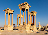 Tetrapylon, Palmyra, Syria. Ancient city in the desert that fell into disuse after the 16th century.