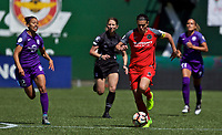 Portland, OR - Saturday April 15, 2017:  Christine Sinclair during a regular season National Women's Soccer League (NWSL) match between the Portland Thorns FC and the Orlando Pride at Providence Park.