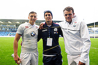 Bath Rugby Academy players Darren Atkins and Zach Mercer of England U20 and Adam Hastings of Scotland U20 pose for a photo after the match. World Rugby U20 Championship match between England U20 and Scotland U20 on June 11, 2016 at the Manchester City Academy Stadium in Manchester, England. Photo by: Patrick Khachfe / Onside Images