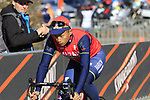 Chun Kai Feng (TPE) Bahrain-Merida heads to sign on before the start of Gent-Wevelgem in Flanders Fields 2017, running 249km from Denieze to Wevelgem, Flanders, Belgium. 26th March 2017.<br /> Picture: Eoin Clarke | Cyclefile<br /> <br /> <br /> All photos usage must carry mandatory copyright credit (&copy; Cyclefile | Eoin Clarke)