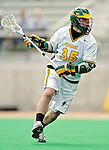 10 April 2007: University of Vermont Catamounts' Sean Layton, a Senior from Wilmington, MA, in action against the Holy Cross Crusaders at Moulton Winder Field, in Burlington, Vermont. The Crusaders rallied to defeat the Catamounts 5-4...Mandatory Photo Credit: Ed Wolfstein Photo