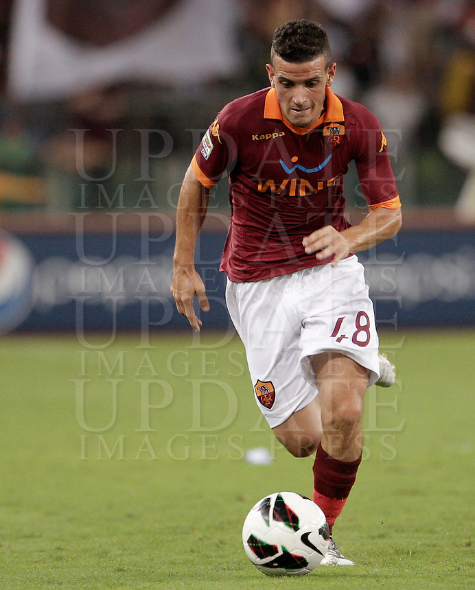 Calcio, Serie A: Roma-Catania. Roma, stadio Olimpico, 26 agosto 2012..AS Roma midfielder Alessandro Florenzi, in action during the Italian Serie A football match between AS Roma and Catania, at Rome, Olympic stadium, 26 August 2012. .UPDATE IMAGES PRESS/Riccardo De Luca