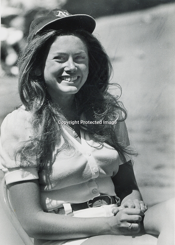 Debbie Sivyer (Mrs. Fields) working as Oakland A's ball girl..(1972 photo by Ron Riesterer)