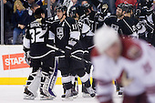 Anze Kopitar (Los Angeles Kings, #11) celebrating with his team during ice-hockey match between Los Angeles Kings and Phoenix Coyotes in NHL league, March 3, 2011 at Staples Center, Los Angeles, USA. (Photo By Matic Klansek Velej / Sportida.com)