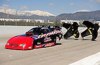 Feb. 27, 2011; Pomona, CA, USA; NHRA funny car driver Gary Densham during the Winternationals at Auto Club Raceway at Pomona. Mandatory Credit: Mark J. Rebilas-.