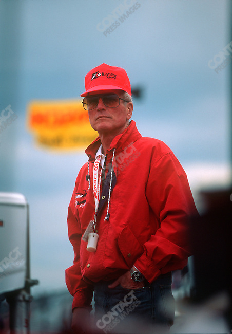 Paul Newman part owner of the Newman - Haas - Lanigan Racing team, race track, Nazareth, Pennsylvania, October 1991.