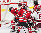 Alex Rodriguez (RPI - 39), Sean Malone (Harvard - 17), Phil Hampton (RPI - 6), Riley Bourbonnais (RPI - 14), Colin Blackwell (Harvard - 63) - The Harvard University Crimson defeated the visiting Rensselaer Polytechnic Institute Engineers 5-2 in game 1 of their ECAC quarterfinal series on Friday, March 11, 2016, at Bright-Landry Hockey Center in Boston, Massachusetts.