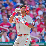 23 May 2015: Philadelphia Phillies infielder Maikel Franco crosses the plate after hitting a home run in the 3rd inning against the Washington Nationals at Nationals Park in Washington, DC. The Phillies defeated the Nationals 8-1 in the second game of their 3-game weekend series. Mandatory Credit: Ed Wolfstein Photo *** RAW (NEF) Image File Available ***