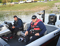 NWA Democrat-Gazette/FLIP PUTTHOFF <br /> FLW pro Greg Bohannan of Bentonville (left) and his brother, Gary Bohannan, leave Prairie Creek park early Tuesday April 25 2017 for the final practice day of the Walmart FLW Tour bass tournament at Beaver Lake. The lake is off limits to FLW anglers today. The tournament is Thursday through Sunday.