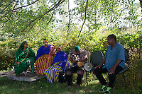 Somali Bantu musicians and dancersat harvest festival, Maine