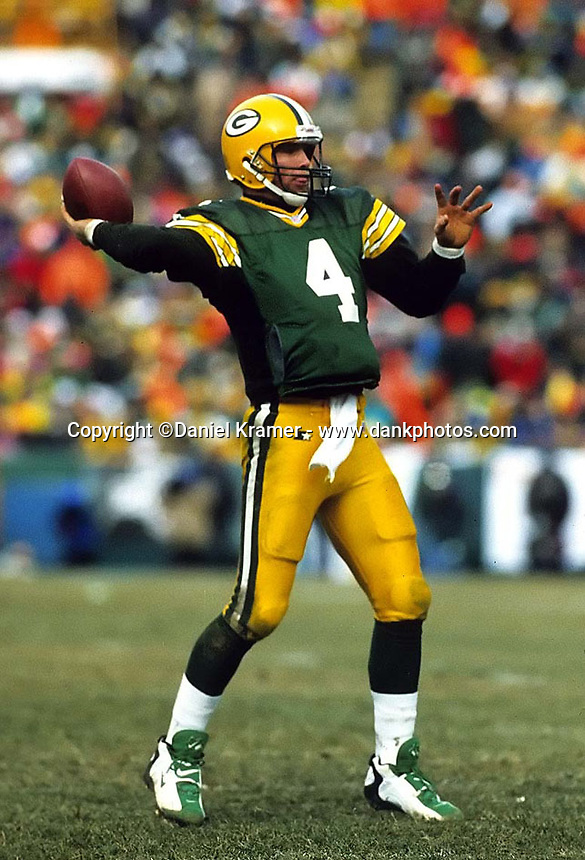 """Green Bay Packers quarterback Brett Favre threw for 292 yards and two touchdowns in the NFC Championship game against the Carolina Panthers on January 12, 1997 as the Pack cruised to a 30-13 win at Lambeau Field. This was the first title game in Green Bay since the """"Ice Bowl"""" in 1967."""