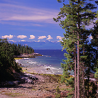 Texada Island, Northern Gulf Islands, BC, British Columbia, Canada - Beach at Lime Kiln Bay overlooking Georgia Strait to Vancouver Island