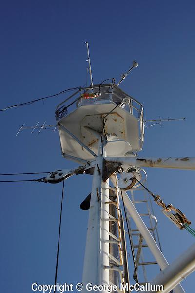 Radio direction finding antenea on mast used for tracking radio tagged marine mammals Norwegian sea North Atlantic