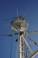 Radio direction finding antenea on mast used for tracking radio tagged marine mammals Norwegian sea North Atlantic