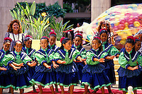 A group of young girls perform a keiki (children's) hula at Tamarind Park in downtown Honolulu.