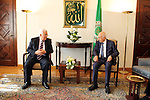 Palestinian President Mahmoud Abbas meets with the Secretary General of the Arab League Nabil al-Arabi in Cairo, in May 28,2016. Photo by Egyptian President Office