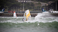 Cross offshore windsurfing conditions at Lyall Bay, Wellington, New Zealand
