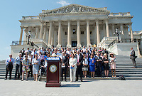 Democratic members of the United States House of Representatives and US Senate assemble on the East Steps of the US Capitol to call on Republican leadership in both legislative bodies to schedule votes on funding to combat the Zika Virus, to prohibit people on the federal &quot;no fly&quot; list from purchasing guns, and to conduct confirmation hearings and schedule a vote on the confirmation of Judge Merrick Garland as Associate Justice of the US Supreme Court in Washington, DC on Thursday, September 8, 2016.<br /> Credit: Ron Sachs / CNP /MediaPunch