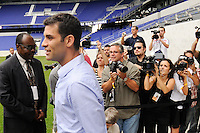 New York Red Bulls new signing Rafael Marquez enter the field for a photo opportunity prior to a New York Red Bulls press conference at Red Bull Arena in Harrison, NJ, on August 03, 2010.