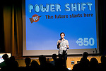 Daniel Vockins from the 10:10 campaign addresses the crowd during the opening of Powershift. The UKYCC PowerShift Conference, held on Oct. 9-12, brought together over 250 young people from across the United Kingdom and the world to discuss climate change. The conference taught them how to  organize, build a social movement and take creative and intelligent action to tackle the climate crisis. Institute of Education, London, United Kingdom (2009 ©Robert vanWaarden)