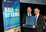 St Johnstone Hall of Fame Dinner, Perth Concert Hall...05.10.13<br /> John Brogan is presented his Hall of Fame Award by Chairman Steve Brown<br /> Picture by Graeme Hart.<br /> Copyright Perthshire Picture Agency<br /> Tel: 01738 623350  Mobile: 07990 594431