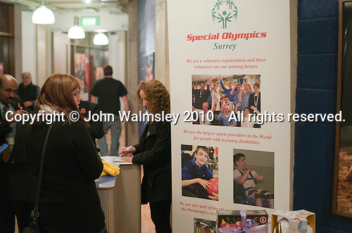 "Selling raffle tickets.  Special Olympics Surrey put on a show,   ""Beyond the Stars"", at the Rose Theatre, Kingston upon Thames to raise money for the  SOGB team.  The Special Olympics are for athletes with learning disabilities."