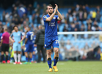 Leicester City's Christian Fuchs applauds the fans at the final whistle <br /> <br /> Photographer Stephen White/CameraSport<br /> <br /> The Premier League - Manchester City v Leicester City - Saturday 13th May 2017 - Etihad Stadium - Manchester<br /> <br /> World Copyright &copy; 2017 CameraSport. All rights reserved. 43 Linden Ave. Countesthorpe. Leicester. England. LE8 5PG - Tel: +44 (0) 116 277 4147 - admin@camerasport.com - www.camerasport.com
