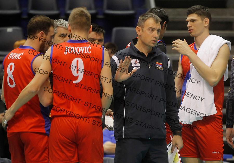 Odbojka Volleyball<br /> Srbija v Bugarska-Prijateljski mec<br /> Head coach Nikola Grbic (C) Nikola Jovovic (L) and Marko Podrascanin (R)<br /> Beograd, 29.12.2015.<br /> foto: Srdjan Stevanovic/Starsportphoto &copy;