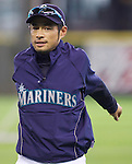 Seattle Mariners Ichiro Suzuki warms up before his game against the Oakland Athletics in the opening home game of the season against the Oakland Athletics at SAFECO Field in Seattle April 12, 2010. The Athletics beat the Mariners 4-0. Jim Bryant Photo. &copy;2010. ALL RIGHTS RESERVED.