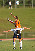 Brady Bryant of the Charlotte Eagles goes over the top in a game against the Bolton Wanderers.  The Charlotte Eagles currently in 3rd place in the USL second division play a friendly against the Bolton Wanderers from the English Premier League.