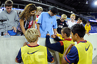 USA players sign autographs for fans. The USMNT U-17 defeated New York Red Bulls U-18 4-1 during a friendly at Red Bull Arena in Harrison, NJ, on October 09, 2010.