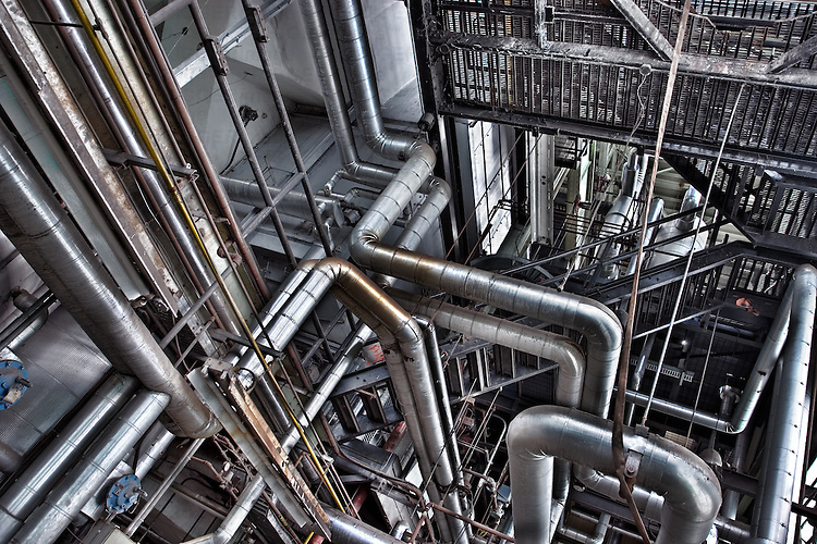 Pipes in a modern factory
