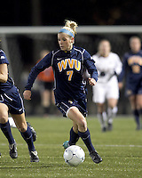 """West Virginia forward Megan Mischler (7) dribbles. Boston College defeated West Virginia, 4-0, in NCAA tournament """"Sweet 16"""" match at Newton Soccer Field, Newton, MA."""