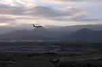 Aeroplane flying into Reina Sofia airport, Tenerife, Canary Islands.