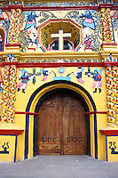 Entranceway of the famous folk baroque church in San Andres Xecul near the city of Quetzaltenango, Guatemala