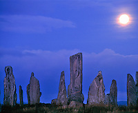The Callinish Stones,  Isle of Lewis, Scotland, United Kingdom, Outer Hebrides Islands, North Atlantic, Five thouseand year old standing stones,  Moonset,  Lewisian Gneiss,  September