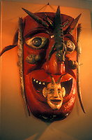 Grotesque Mexican devil mask, Museo Nacional de la Mascara or National Museum of the Mask in SanLuis Potosi, Mexico