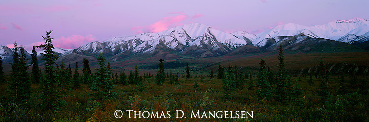 Sunset above the mountains near Igloo Creek in Denali National Park, Alaska.