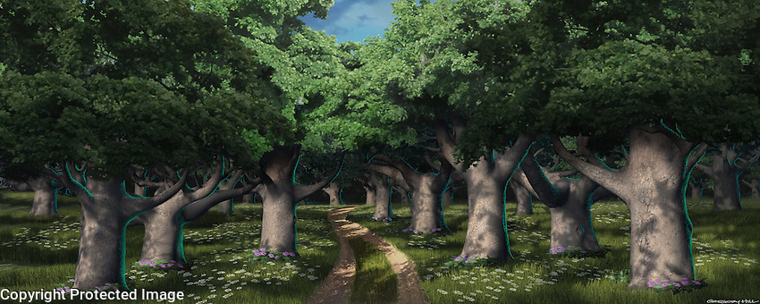 A forest scene along the way to the Castle where Fiona is being held prisoner.  For Kenmark Scenic Backdrops, Inc.