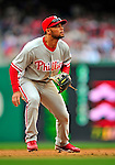13 April 2009: Philadelphia Phillies' third baseman Pedro Feliz in action visiting the Washington Nationals during their Home Opener at Nationals Park in Washington, DC. The Nats fell short in their 9th inning rally, losing 9-8, as the visiting Phillies handed the Nats their 7th consecutive loss of the 2009 season. Mandatory Credit: Ed Wolfstein Photo