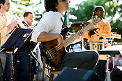 May 24, 2008. Saxapahaw, NC.. Orquesta GarDel, a 12 piece salsa band based in North Carolina, played to a large crowd at the Saxapahaw Rivermill Farmers' Market Music Series, a series of concerts near the banks of the Haw River that runs from May through September, every Saturday.