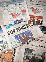 National and local newspapers in New York on Wednesday, November 5, 2014 report on the results of the previous day's mid-term elections. The papers reported on the Republican victories and the re-election of NYS Gov. Andrew Cuomo.  (© Richard B. Levine)