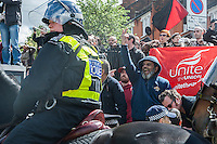 Local people and anti fascists mobilise against a march by around 65 members of the racist English Defence League in Walthamstow East london 9-5-15